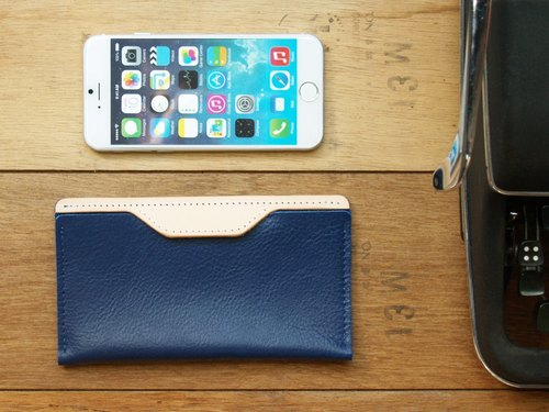 [ weekenlife ] - Leather Phone Case for iPhone 6/7/8 ( Custom Name ) - Deep Ocean