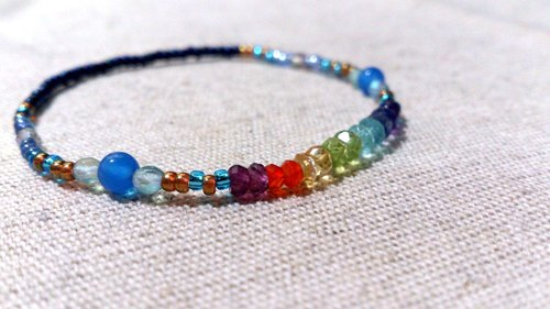 crystal in dearsharka || colorful crystal x blue agate. Yun Hee curved rainbow shining under