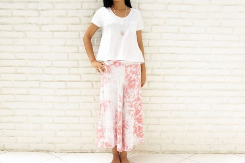 Uneven dyed relax wide flared pants <Pink Gray>