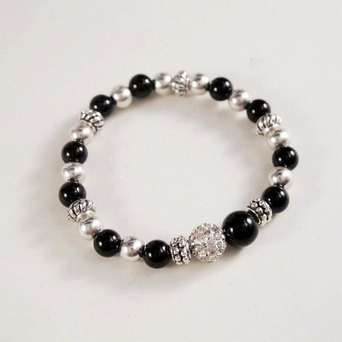 [Orange] Mr. Mu MUCHU agate. Black agate diamond ball bracelet AB018