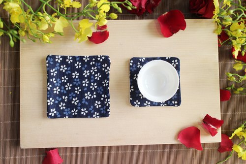 Good Vibes Interested in exquisite handmade coasters living / Hakka fabric / dark blue (size: large, small) a set of four