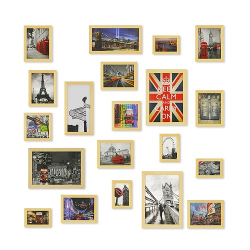 HomePlus Photoframe LightBrown 20PCS City Decor Loft
