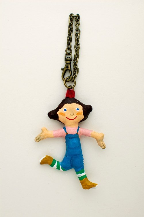 "hanauta dolls bag charm ""denim overalls"""