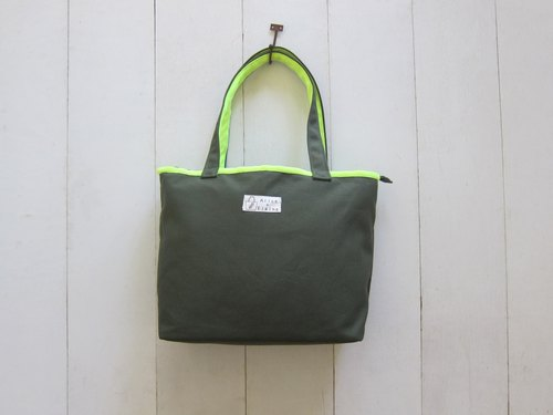 Macaron series - Canvas Medium Tote (zipper) olive + fluorescent yellow