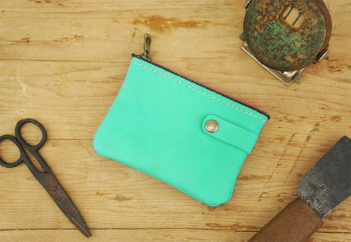 """Grinding cowhide"" Exclusive Tiffany green leather purse (classical printing)"