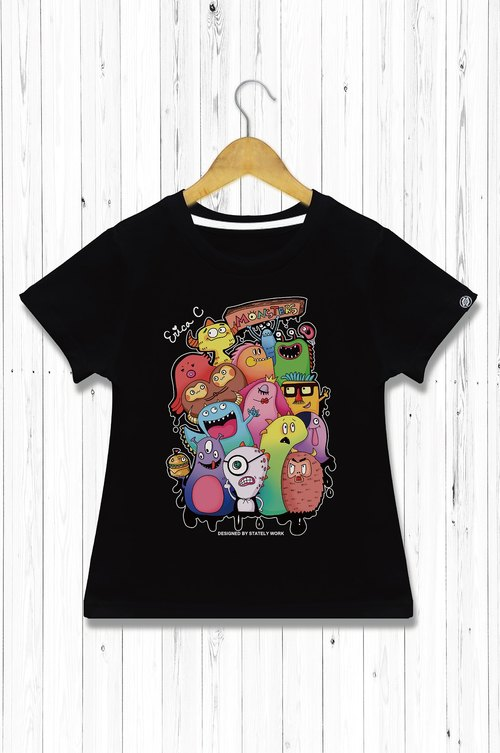 STATELYWORK monster family T (color version / black) - children's clothing