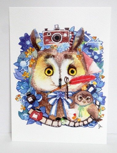 Literary juvenile owl postcard with small messenger