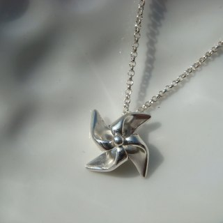 Cute little windmills. Silver Necklace