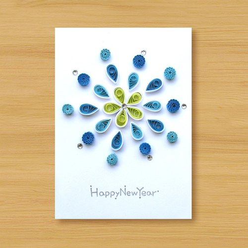 Hand roll card: flower fire _B (New Year greeting card, thanks card, universal card)