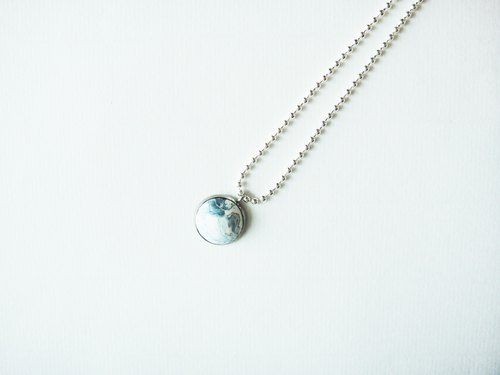 Navy blue marble pendant silver chain necklace / handmade hand made necklace / girls jewelry gift