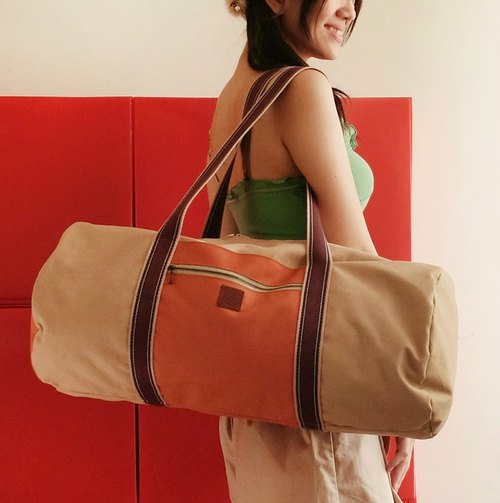 Travel! The new multi-color pocket large capacity canvas bag khaki + brick orange cylindrical neutral section