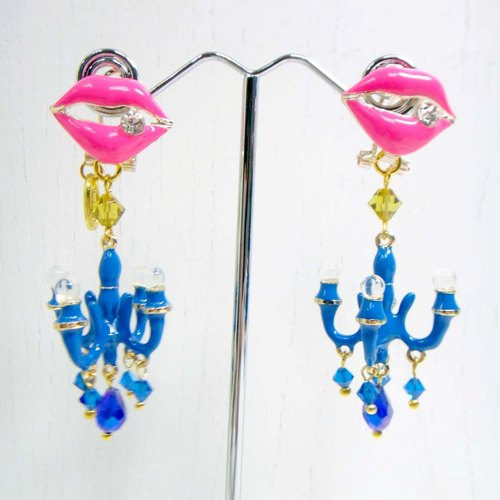 TIMBEE LO color blue crystal chandelier earrings