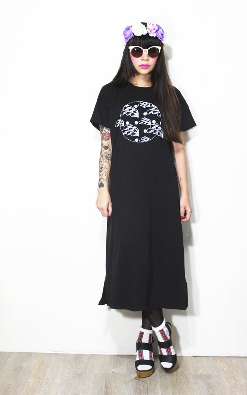Fairy Farm Factory [FFF] design hand-printed white Shuiyu wave pattern cotton T Long Dress