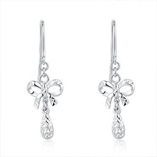 Hong Kong Design 14K / 585 white gold net gold bow hanging earrings
