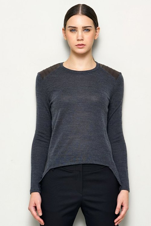 Leather stitching wool knit tops