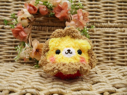 Animal wool knit mini purse mouth gold package - Lions