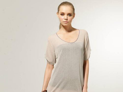 [KIINO] U-neck Long plain through skin feeling lazy fashion knit blouse - gray