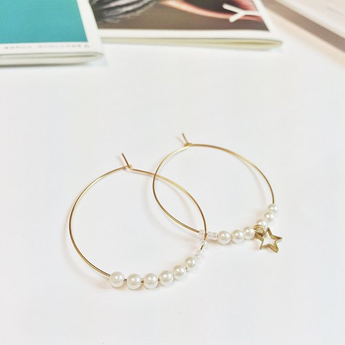 Marygo ﹝ asymmetric mini small pearl earrings circular linear golden stars ﹞
