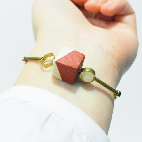 Red-painted square wooden tablets brass program elastic bracelet