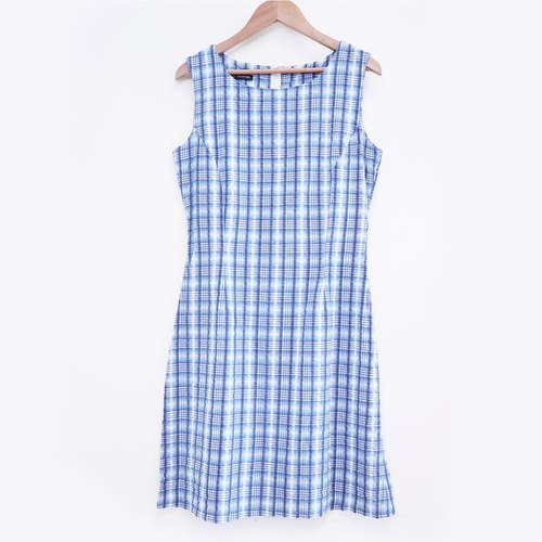 Seaside had it blue checkered vest dress