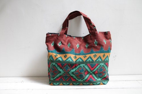 OMAKE Indian cotton handmade serigraphy Tote 001 (left Figure I Figure II Brown)