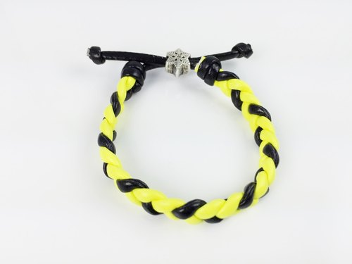 Yellow and black color - imitation leather cord woven