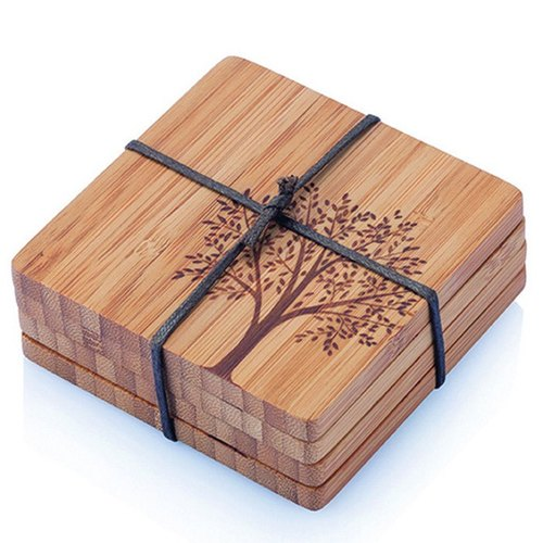 Bambu playful pattern natural bamboo coasters (set of 4) - Wishing Tree