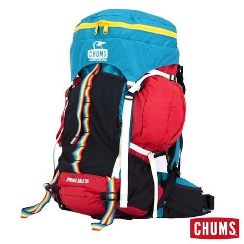 CHUMS Japan Spring Dale 35L mountaineering backpack rain cover attached blue-green / red CH60-2069