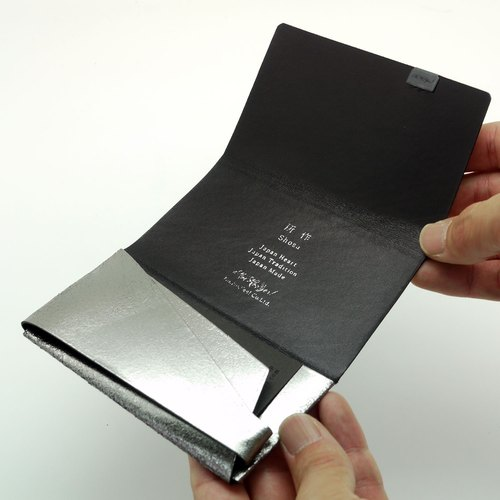 Made Shosa [Japanese handmade vegetable tanned leather] business card holder / clip - color models / silver and black