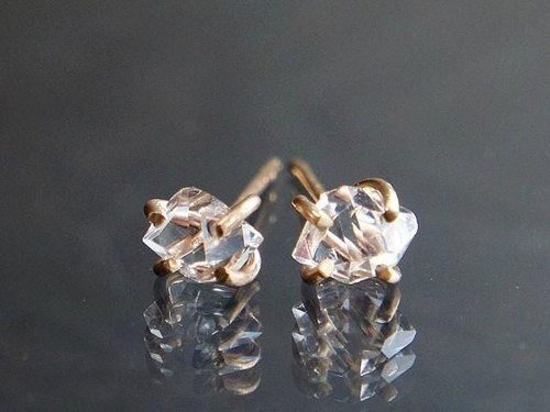 Herkimer Diamond Stud Earrings Gold