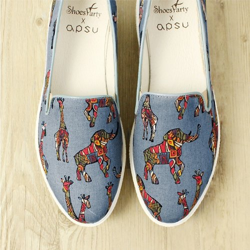 [EU regulation No. 35 spot (22.5)] psychedelic zoo II bottomed shoes / handmade custom / Japanese cloth