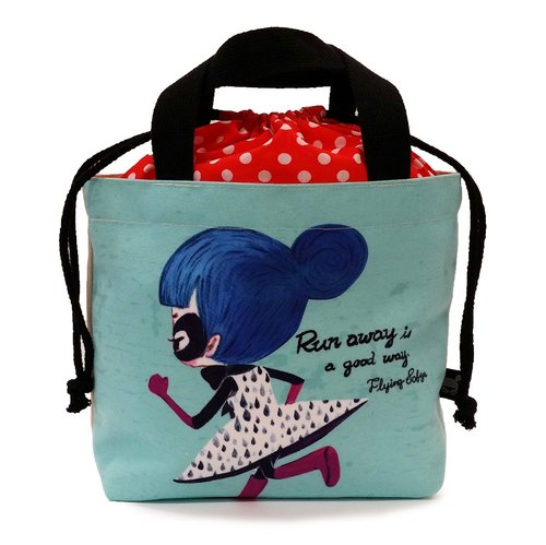 Lace handbag [Run away is a good way] FlyingSofye illustrator. Lunch bag (single-sided printing)