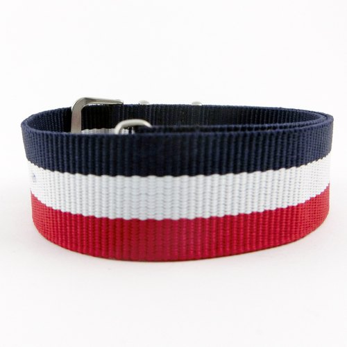 20MM blue nylon belt between the red lines of France