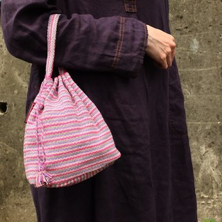【Grooving the beats】Handmade Hand Woven String Pouch / Draw String Bag / Hand Bag(Pink)