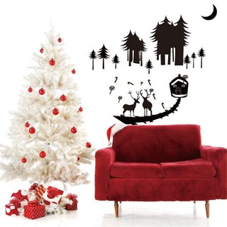 Smart Design wall stickers creative Seamless Christmas elk ◆ 8 color options