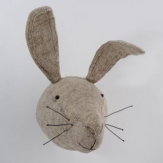 [English] Fiona Walker England style fairy tale animal head handmade Mural - long-eared rabbit small gray (Grey Hare Head)