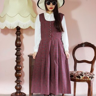 F1120 [Austrian traditional costumes] (Vintage) red black checkered cotton vest vintage dress} (wedding / picnic / party)
