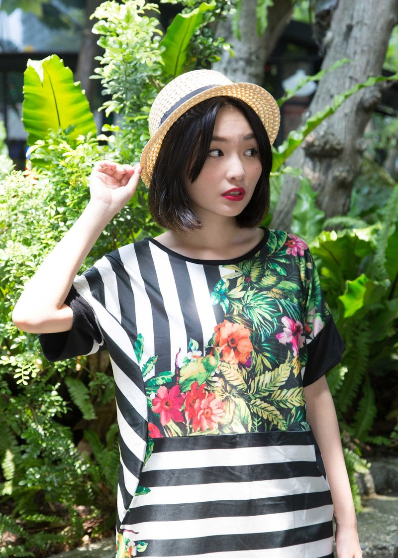 花鳥黑白條紋拼接洋裝-熱帶雨林