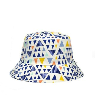 Cool summer colorful triangle geometric denim blue double-sided fisherman hat