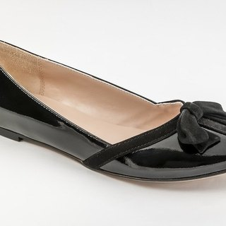 Bella-001m-03B black bow patent leather ballet doll shoes