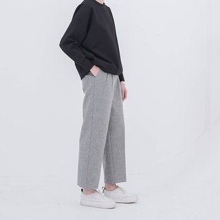 Light gray winter will enter the meat-blocking type super good wool straight wide leg trousers long legs are not swollen