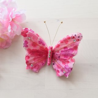 Angel Nina hand-made Japanese-style butterfly hairpin fabric pink kimono dress for children EDITION