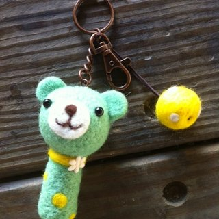 Wool felt Green Apple Bear keychain