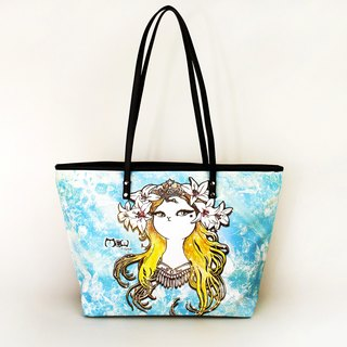 Meow good water repellent tote bag blond Mucha painted cat