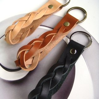 Twisted leather key ring - brown / black European leather handmade leather _ introductory paragraph