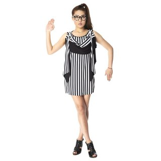 Dress draped dress - black and white stripes