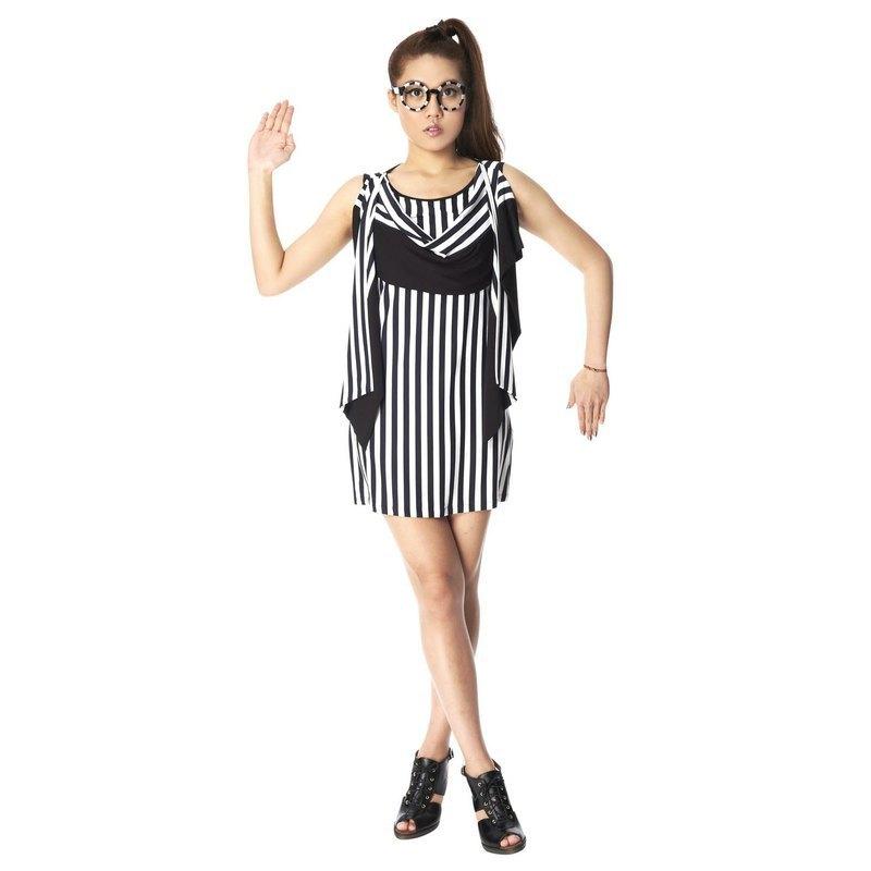 dress 造型垂墜洋裝- 黑白條紋