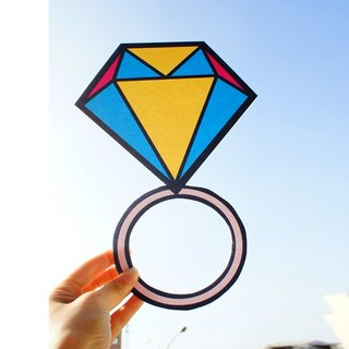 Wedding small things / big ring / cartoon diamond ring / Q version of the diamond ring / marriage props colorful