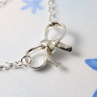<Engraving Accepted> Sterling Silver Bracelet / Ribbon & Bow