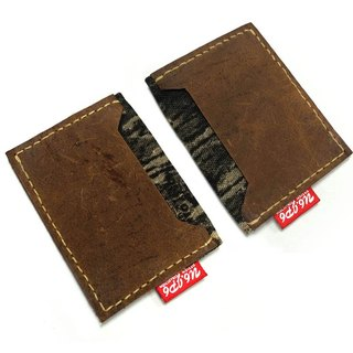 (U6.JP6 handmade leather) camouflage cloth & leather imports of natural hand-made leather sewing. Card holder / clip-purpose card / business card holder